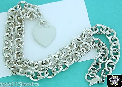 TIFFANY & CO. STERLING SILVER 925 CHAIN NECKLACE HEART TAG *RARE SIZE* 18 Inches