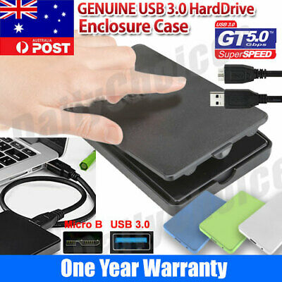 "USB 3.0 Hard Drive 2.5"" SATA HDD SSD External Slim Enclosure Case"