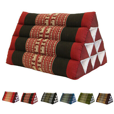 Thai Triangle Pillow Pad Cushion Handmade 100% Kapok Cotton 4 colours