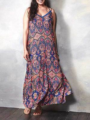 """LabelBe for SimplyBe size 12 trapeze maxi dress (54"""") pinks blues aztec boho"""