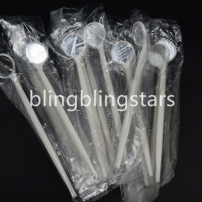 100 Pcs Dental Disposable Plastic Mouth Mirror Reflector Electronics White