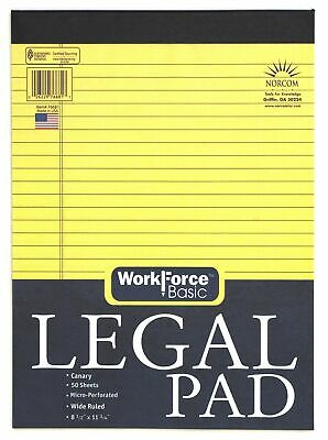 "Norcom 76681-12 8.5"" X 11.75"" Canary Legal Pad 50 Pages,No 76681-12"