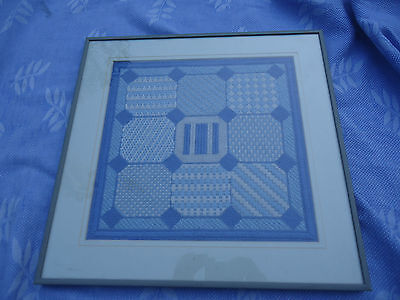 vintage retro cross stitch geometric blue & white framed picture artwork cubist