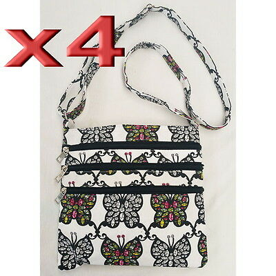 4pc Wholesale Butterfly Canvas Long Shoulder Crossbody Bag Lady Girl Handbag