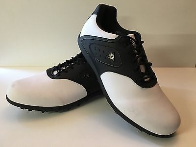 Mens Dunlop Classic Sn 6 Lace Up White Black Golf Shoes