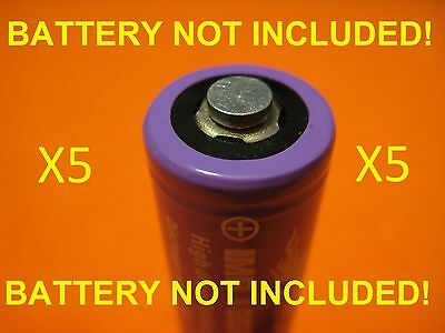 5 Magnet Battery Spacer flat top to button top - 18650 18350 26650 converter mod