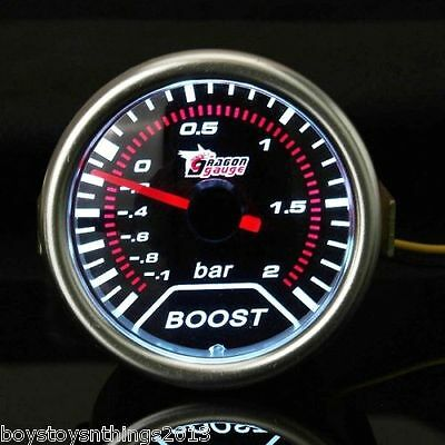 2 Inch Universal Car Red Led Turbo Boost Auto Gauge -1 to 2 Bar Meter. UK SELLER