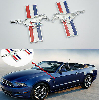 2pcs JDM Running Horse Emblem Door Fender Badge Sticker Chrome for Ford Mustang