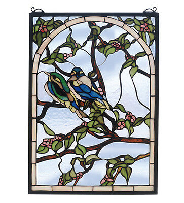 "Meyda Living Room Decorative 14""W X 20""H Lovebirds Stained Glass Window Brown"