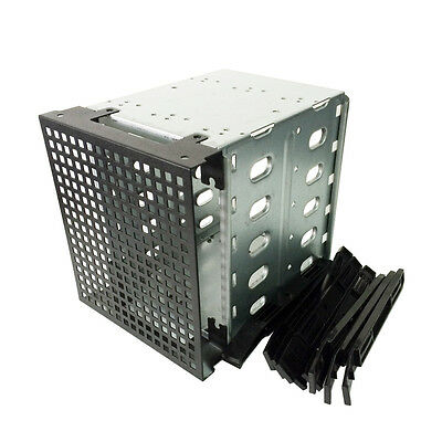 """5.25"""" to 5X 3.5"""" SATA SAS Rack Adapter HDD Cage Hard Driver Tray Caddy Fan Space"""