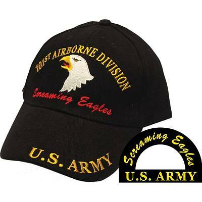 U.S. Army 101st Airborne Screaming Eagles Black Hat Cap USA