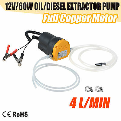 60W Transfer Pump Extractor Oil Fluid Diesel Electric Siphon Car Motorbike 12V