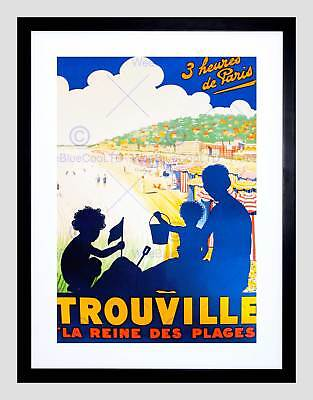 Trouville Travel Vintage French Advert New Black Framed Art Print B12X11447