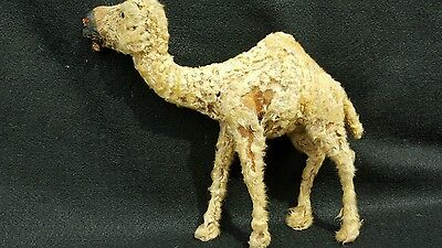 Antique OLD Camel Exotic Animals With Real Fur, Composition? TOY Glass Eyes?