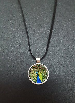 """Peacock Pendant On a 18"""" Black Cord Necklace Ideal Birthday Gift N111"""