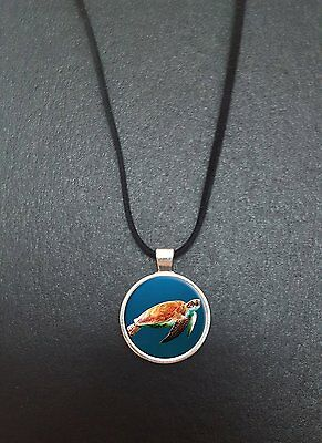 """Turtle Pendant On a 18"""" Black Cord Necklace Ideal Birthday Gift N318"""