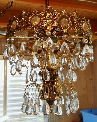 Antique Brass Cherubs 3+ Tier Glass Pendant French Style Swag Chandelier W Chain • CAD $581.82