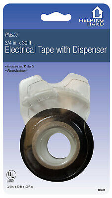 """Helping Hand 85401 3/4"""" X 30' Black Electrical Tape With Dispenser,No 85401,PK6"""