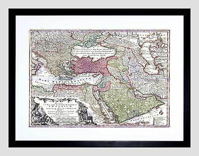 Map Antique Seutter Turkey Ottoman Empire Persia Arabia Framed Print B12X7093