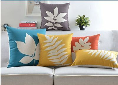 Leaf Home Decor Vintage Cotton Linen Cushion Cover Pillow Case 45x45cm