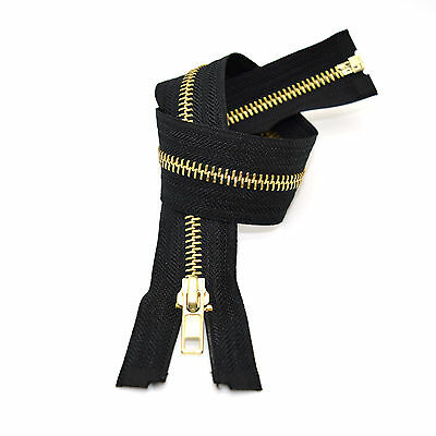 14cm Chrome Black Metal Zip ✄ Closed Ended Zipper #3 ✄ High-Quality ✄ Made in EU