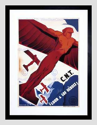 WAR SPANISH CIVIL FAI CNT ANARCHIST SPAIN DURRUTI RETRO FRAMED PRINT B12X2124
