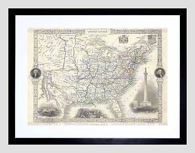 1851 Tallis And Rapkin Map The United States Vintage Framed Art Print B12X2162
