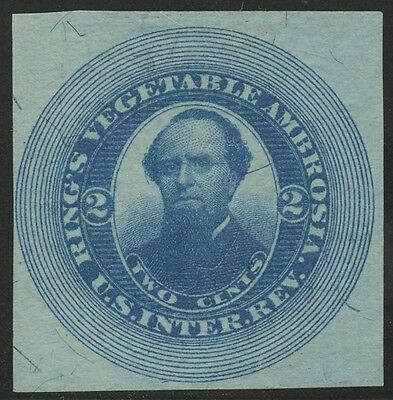 #RS199b RING'S VEGETABLE AMBROSIA 2¢ BLUE IMPERF VF+ EXT RARE (EX-JOYCE) WLM898