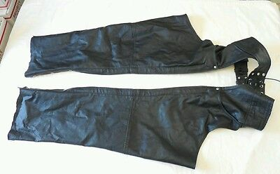 Highway Hawks Black Leather Motorcycle Chaps Size M