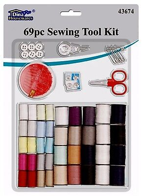 TDINA House Ware 69pc Sewing Accessory kit set with threads needles buttons