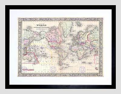 1864 Mitchell Map The World On Mercator Projection Vintage Framed Print B12X2225