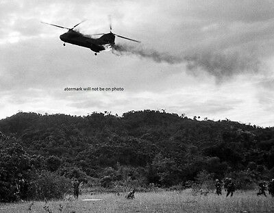 """Marine CH-46 Sea Knight Helicopter hit by enemy 8""""x 10"""" Vietnam War Photo #9"""