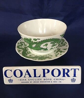Coalport GREEN DRAGON Bowl & Plate England 1891-1920 Rare Backstamp