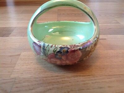 Small Handled Lustre Basket Bowl by Maling Rosalind Pattern 1950s.