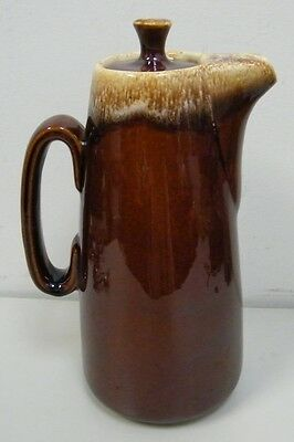 Vintage HULL Brown Drip Glaze Coffee Carafe Pitcher Oven Proof with Lid