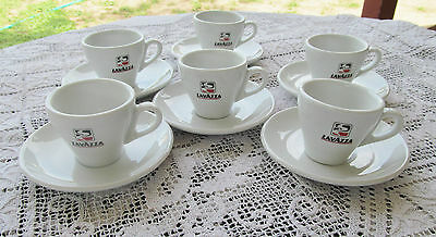 RICHARD GINORI ITALY  for LAVAZZA 6 DEMITASSE CUPS & SAUCERS WHITE  W RED BLACK