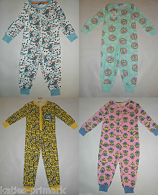 PRIMARK GIRLS or BOYS KIDS ALL IN ONE SLEEP SUIT COTTON PYJAMAS  ages 2 - 8