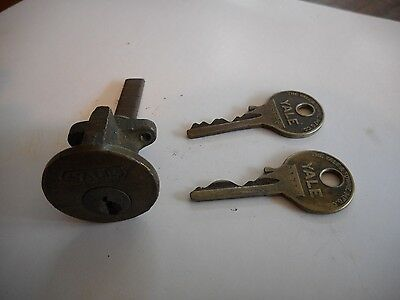 "** Antique Brass Yale Mortise Door Lock Box Cylinder 1 1/16"" w/ 2 Keys **"