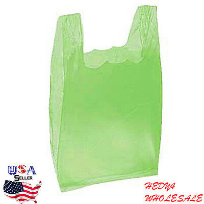 """4000 Bags Retail 16"""" Small Plastic T-Shirt Shopping Bags - Lime Green WHOLESALE"""