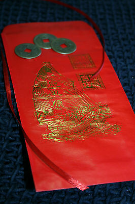 3 Lucky Chinese Coins/ Red Envelope Feng Shui, Fortune Wealth Prosperity Money