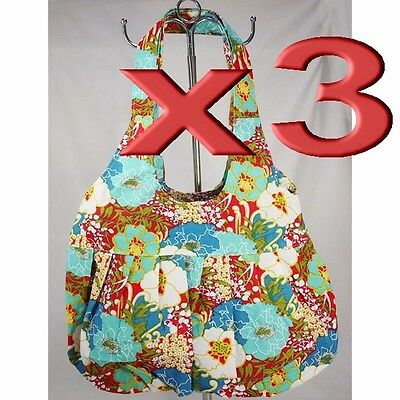 3pc Wholesale Bulk Lots Flower Canvas Shoulder Casual Bag Lady Girl Handbag