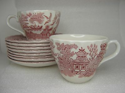 Vintage 10 Piece Wessex Collection Willow ware Pink Rosa ENGLAND 2 cup 8 saucer