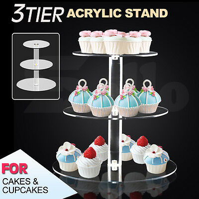 3 Tier Clear Acrylic Maypole Round Cupcake Cake Stand Wedding Birthday Party New