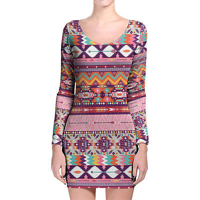 Earthy Aztec Tribal Geometric Longsleeve Bodycon Dress