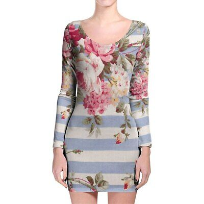 Antique Striped Floral Longsleeve Bodycon Dress