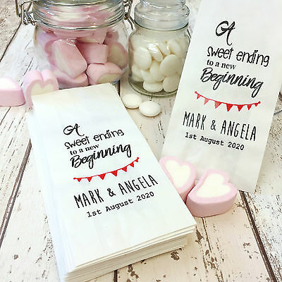 Personalised Wedding Sweets Paper Favour Bags for Candy Cart Buffets