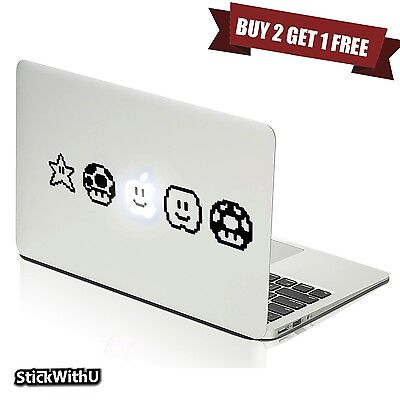Macbook Air Pro Vinyl Skin Sticker Decal Retro Super Mario Game Star Symbol m394