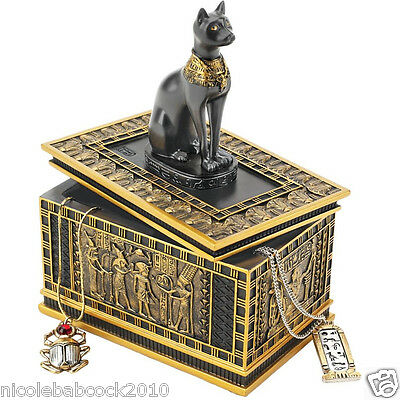 Ancient Egyptian Hidden Trasures Box Feline Goddess Detailed  Faux Gold & Ebony