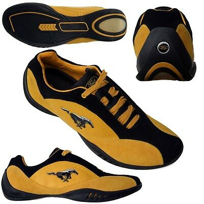 Ford Mustang Gold & Black Suede Casual Driving Shoe Pony Logo