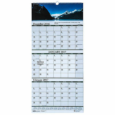 """2017 HOD3638 Earthscapes Scenic 3-Month Wall Calendar, 12-1/4 x 26-1/2"""""""